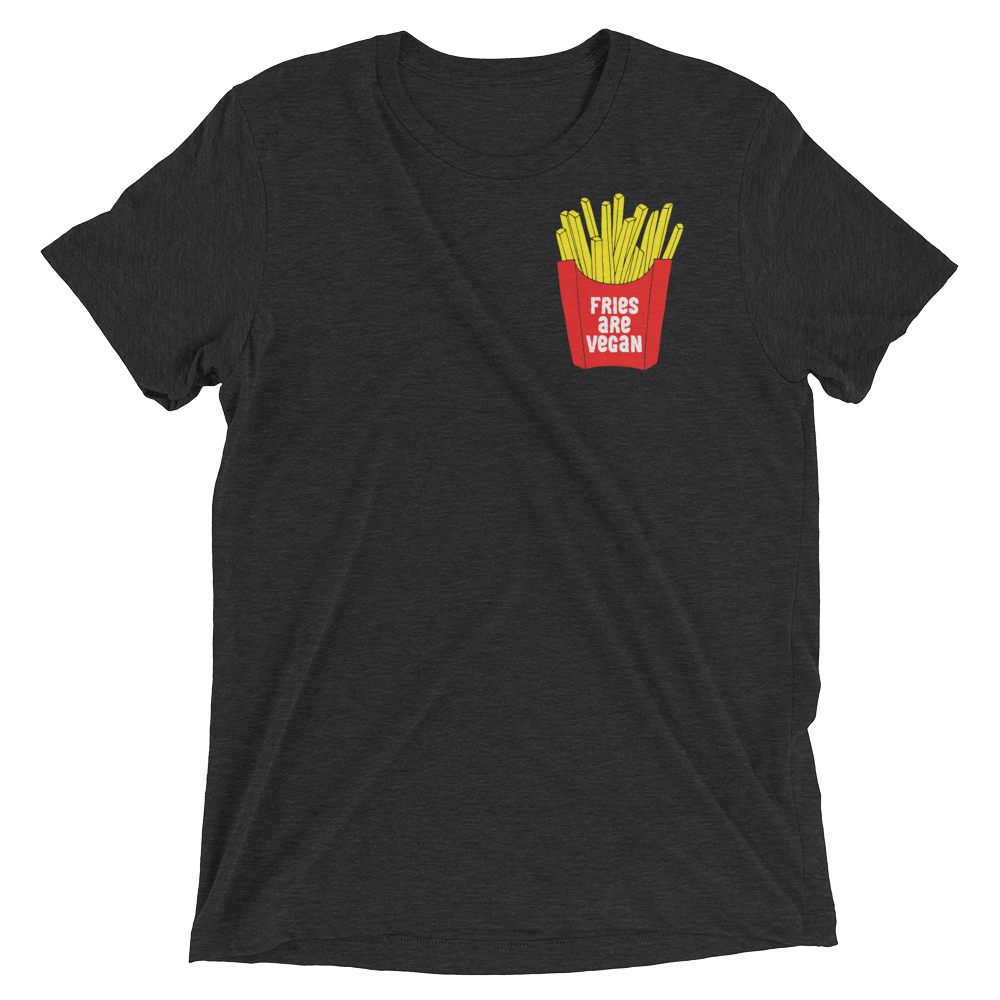 Vegan T-Shirt - Fries Are Vegan - Charcoal Black
