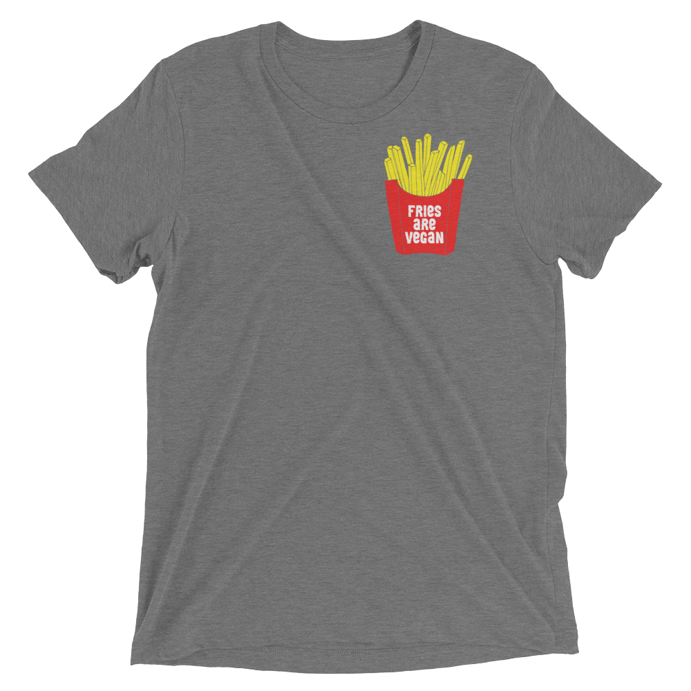 Vegan T-Shirt - Fries Are Vegan - Grey