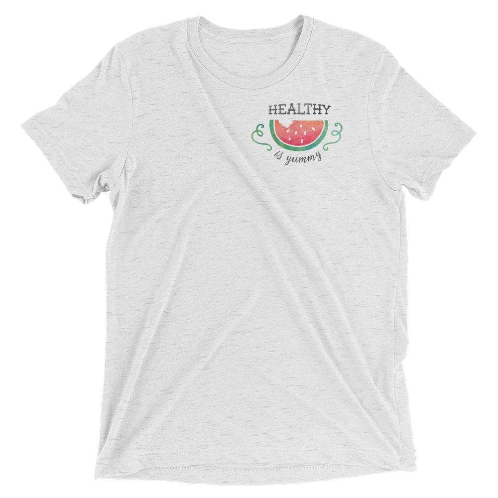 Vegan T-Shirt - Healthy is Yummy - White Fleck