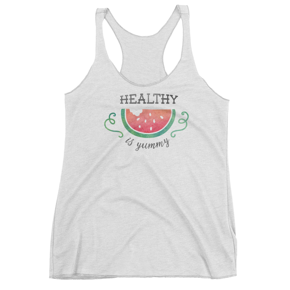Vegan Tank Top - Healthy Is Yummy - Heather White