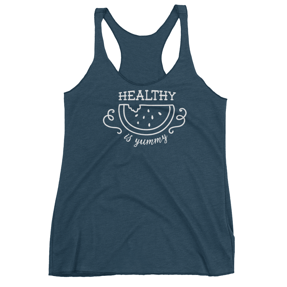 Vegan Tank Top - Healthy Is Yummy - Indigo