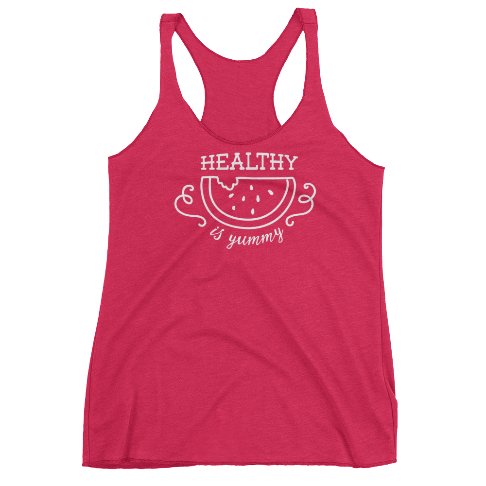 Vegan Tank Top - Healthy Is Yummy - Vintage Shocking Pink