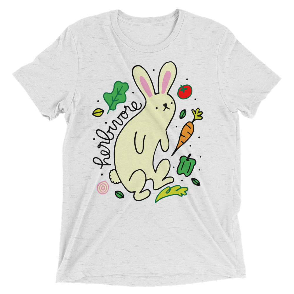 Vegan T-Shirt - Herbivore Rabbit - White Fleck