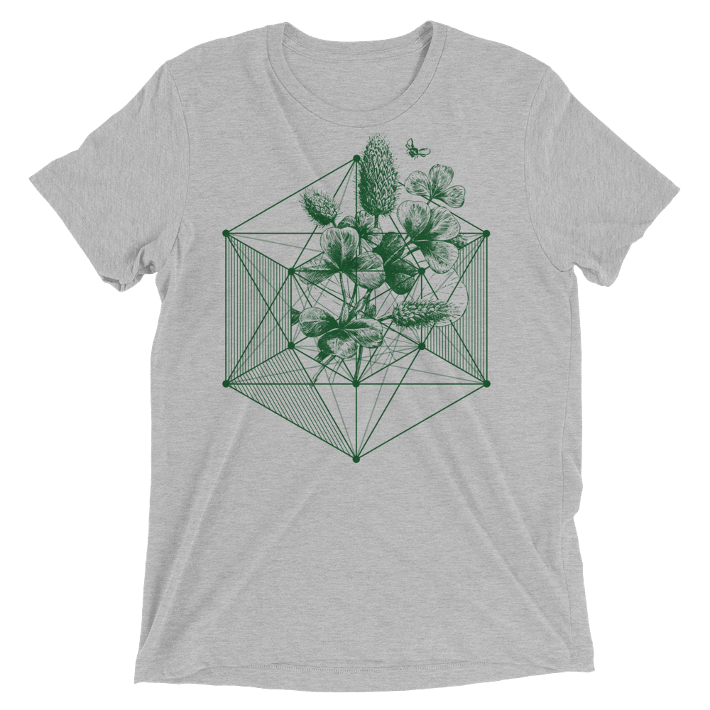 Sacred Geometry Shirt - Hexagon Clover - Athletic Grey