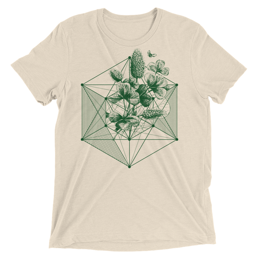 Sacred Geometry Shirt - Hexagon Clover - Oatmeal
