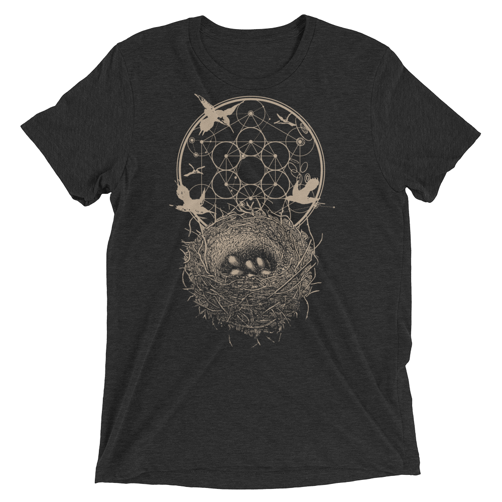 Sacred Geometry Shirt - Hexagon Formation Nest - Charcoal Black