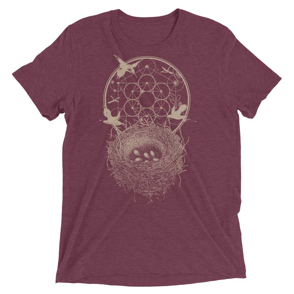 Sacred Geometry Shirt - Hexagon Formation Nest - Maroon
