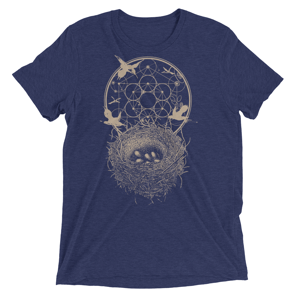 Sacred Geometry Shirt - Hexagon Formation Nest - Navy