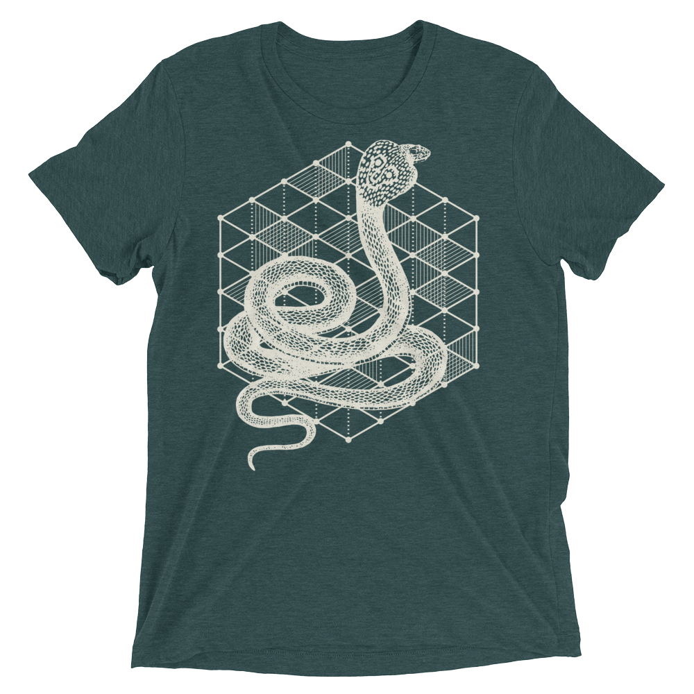 Sacred Geometry Shirt - Hexagonal Grid Cobra - Emerald