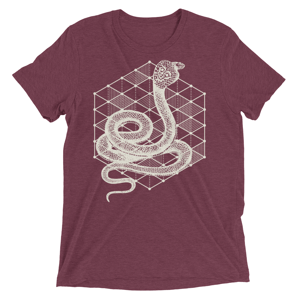 Sacred Geometry Shirt - Hexagonal Grid Cobra - Maroon