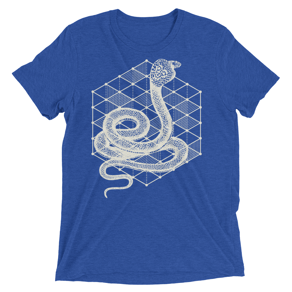 Sacred Geometry Shirt - Hexagonal Grid Cobra - True Royal