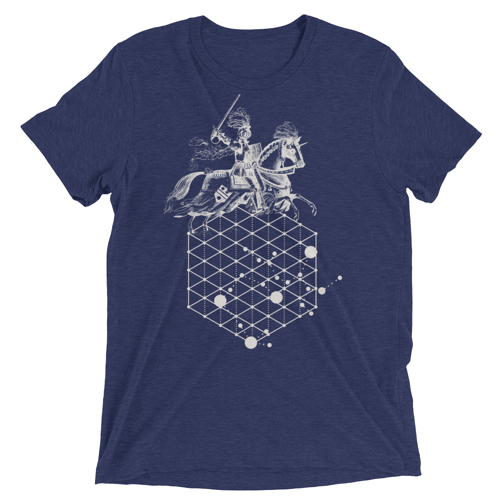 Sacred Geometry Shirt - Hexagonal Grid Horse - Navy