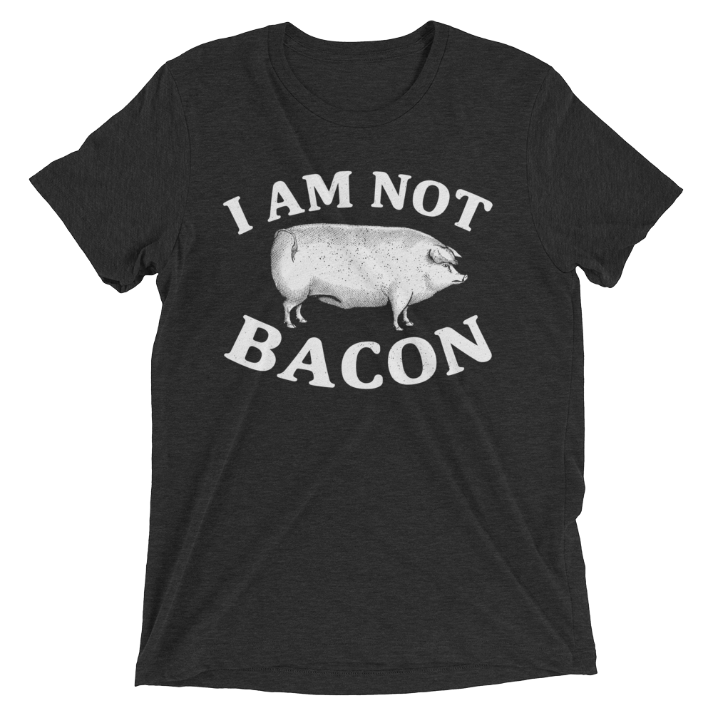 Vegan T-Shirt - I Am Not Bacon - Charcoal Black