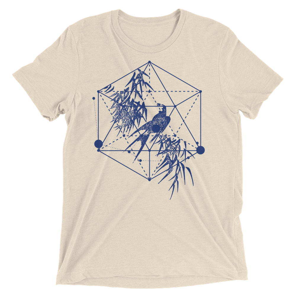 Sacred Geometry Shirt -Icosahedron Bird - Oatmeal