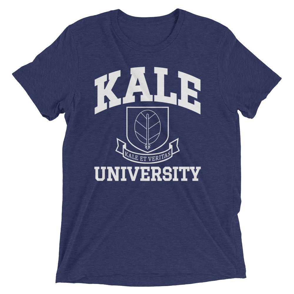 Vegan T-Shirt - Kale University Crest - Navy