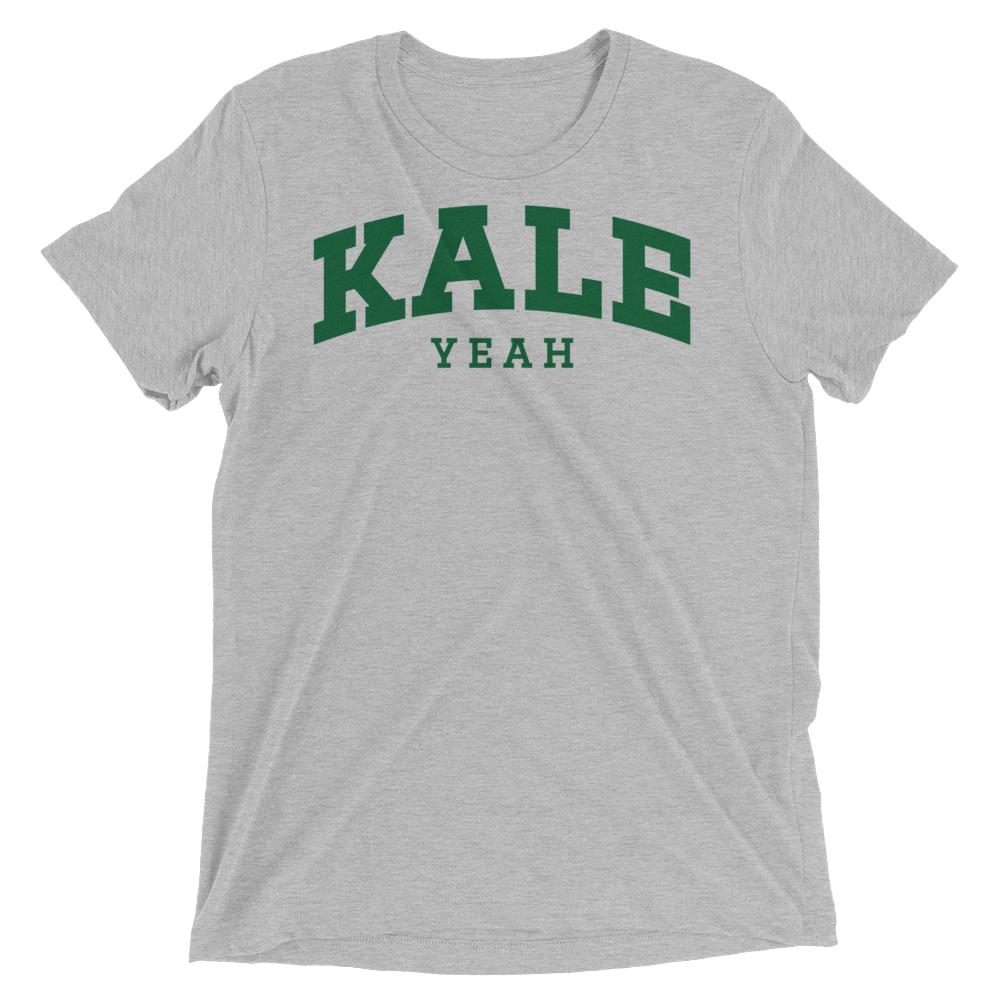 Vegan T-Shirt - Kale Yeah College - Athletic Grey