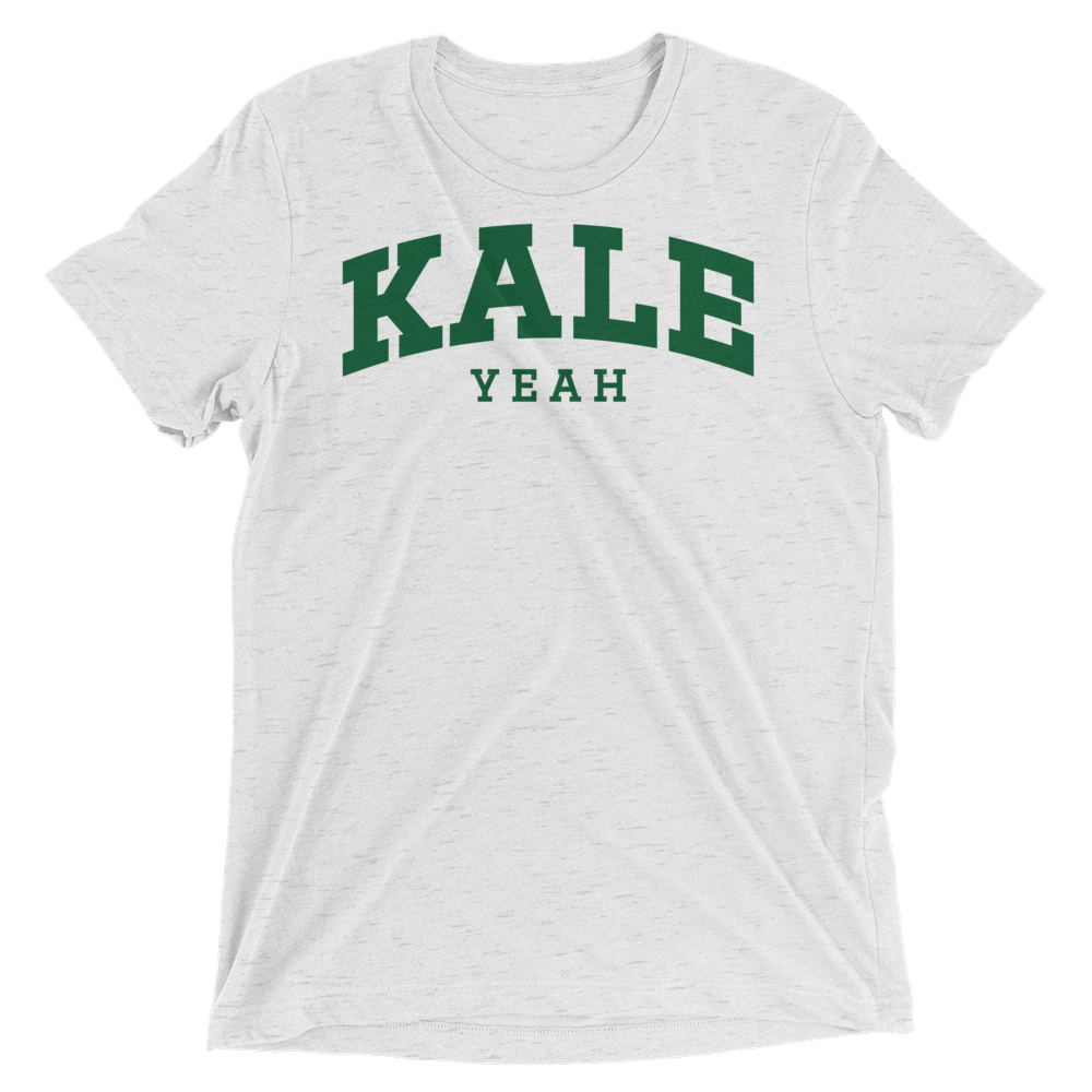 Vegan T-Shirt - Kale Yeah College - White Fleck