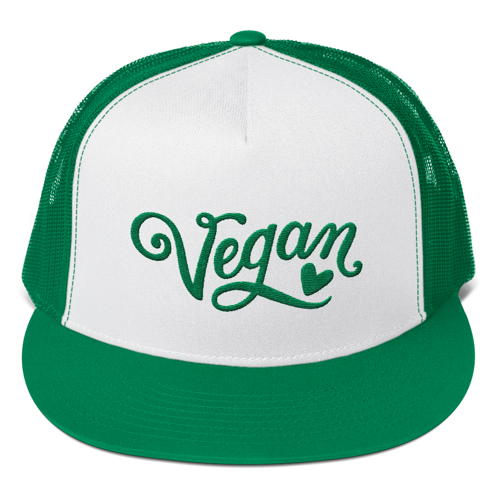 Vegan Trucker Hat - Vegan Heart - Kelly Green
