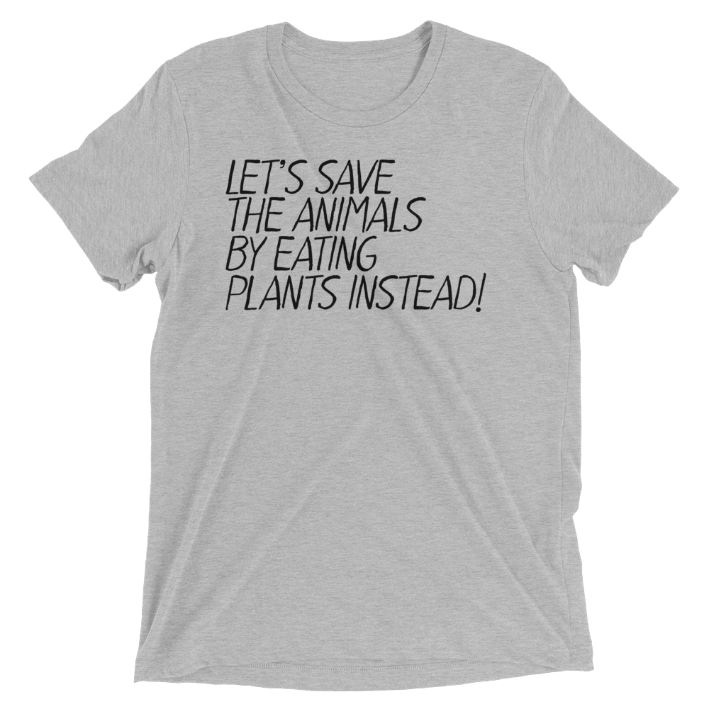 Vegan T-Shirt - Let's Save The Animals - Athletic Grey