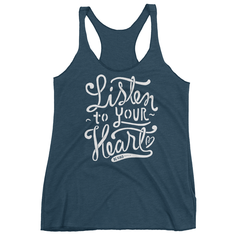 Vegan Tank Top - Listen to your heart - Indigo