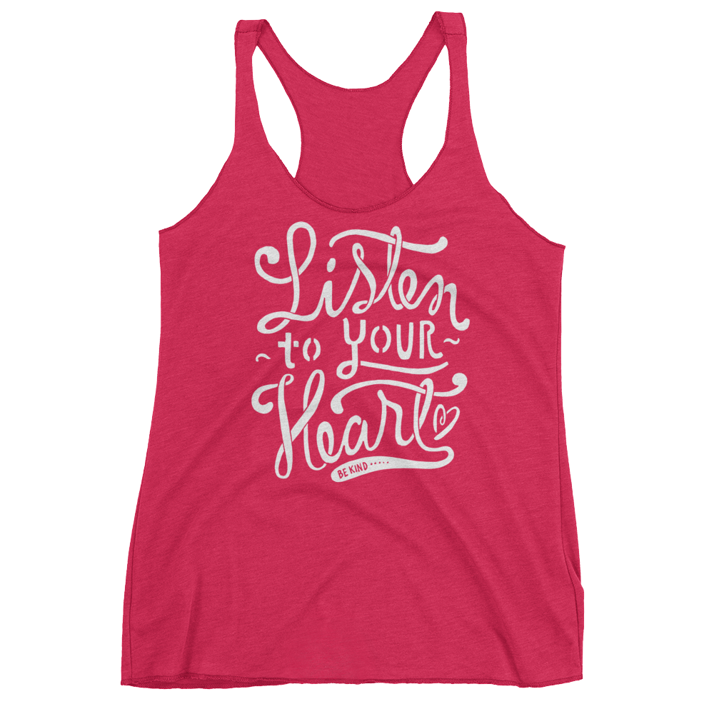 Vegan Tank Top - Listen to your heart - Vintage Shocking Pink