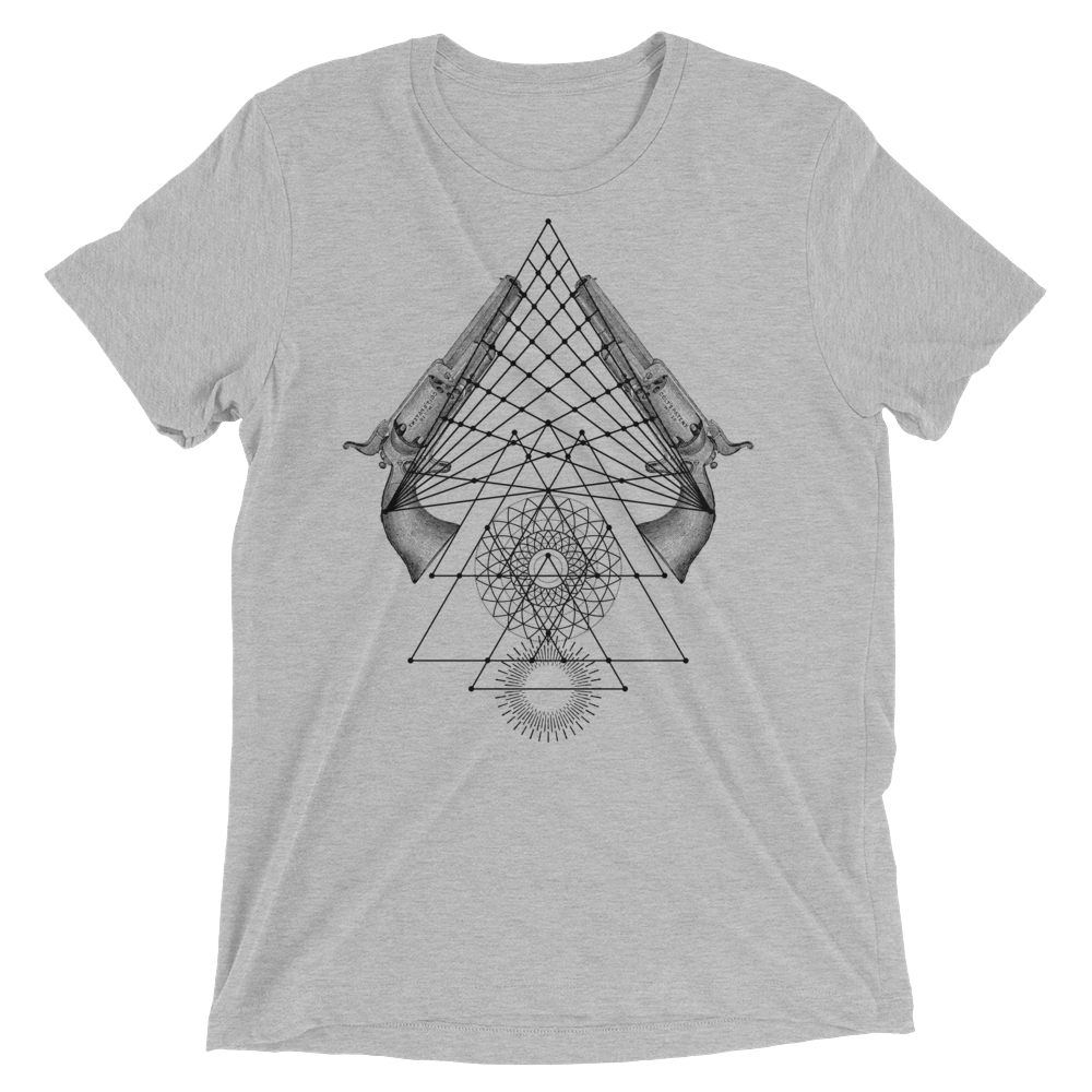 Sacred Geometry Shirt - Lotus Mandala Pistols - Athletic Grey