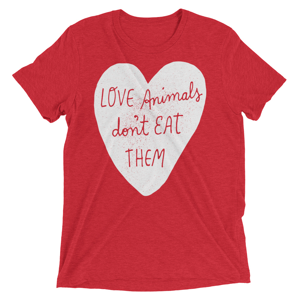 Vegan T-Shirt - Love Animals Don't Eat Them - Red