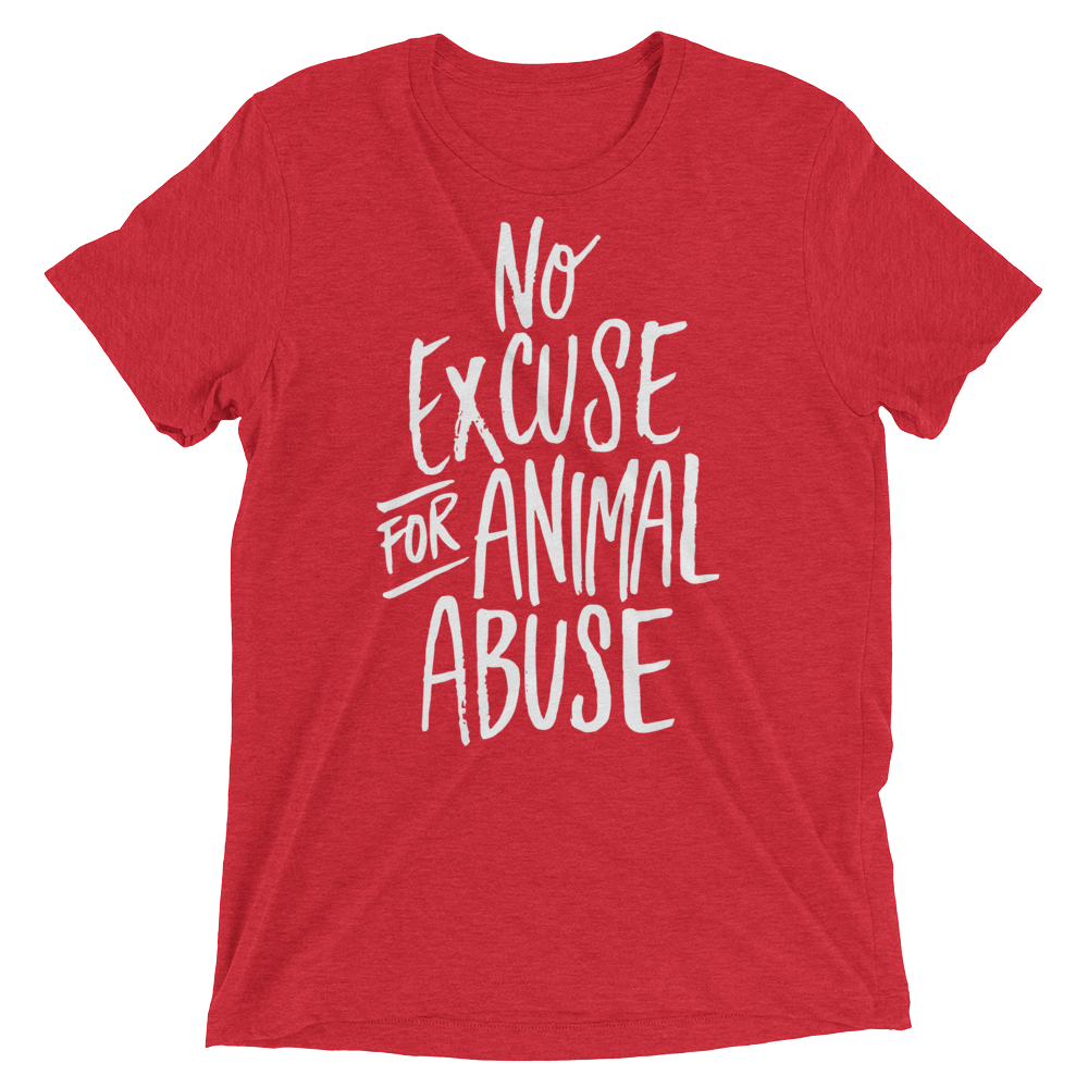 Vegan T-Shirt - No Excuse For Animal Abuse - Red