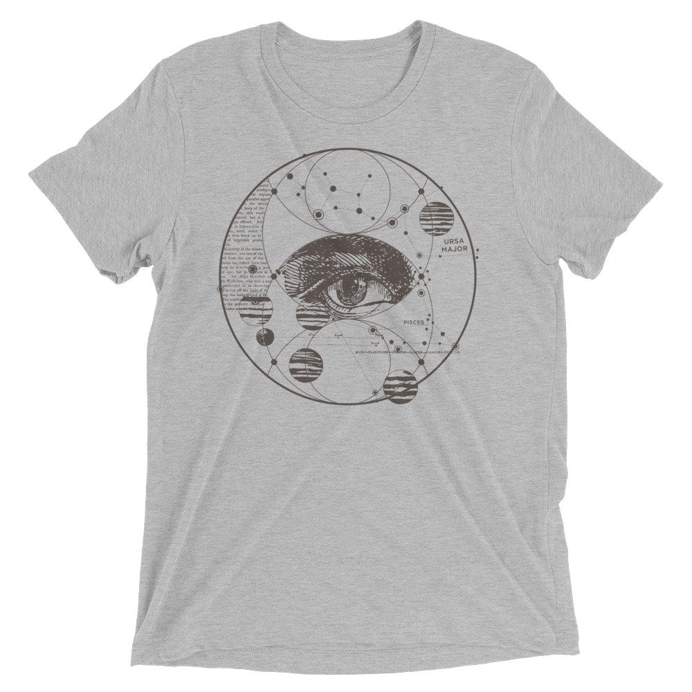 Sacred Geometry Shirt - Piscis Eye Trinity - Athletic Grey