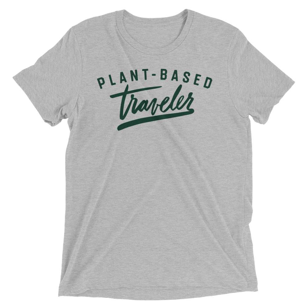 Vegan T-Shirt - Plant-Based Traveler - Grey