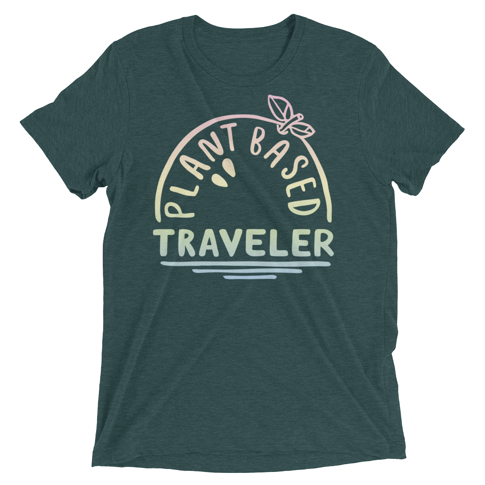 Vegan T-Shirt - Plant Based Traveler - Emerald