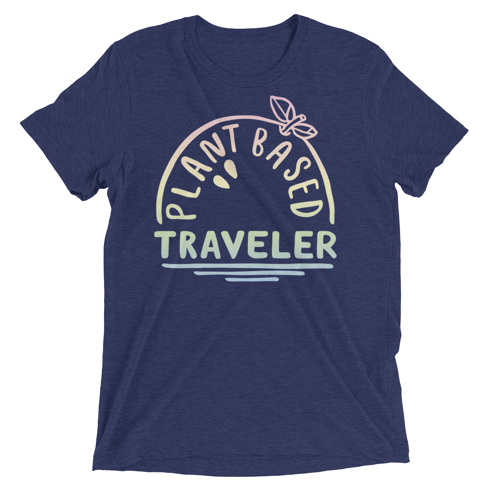 Vegan T-Shirt - Plant Based Traveler shirt - Navy