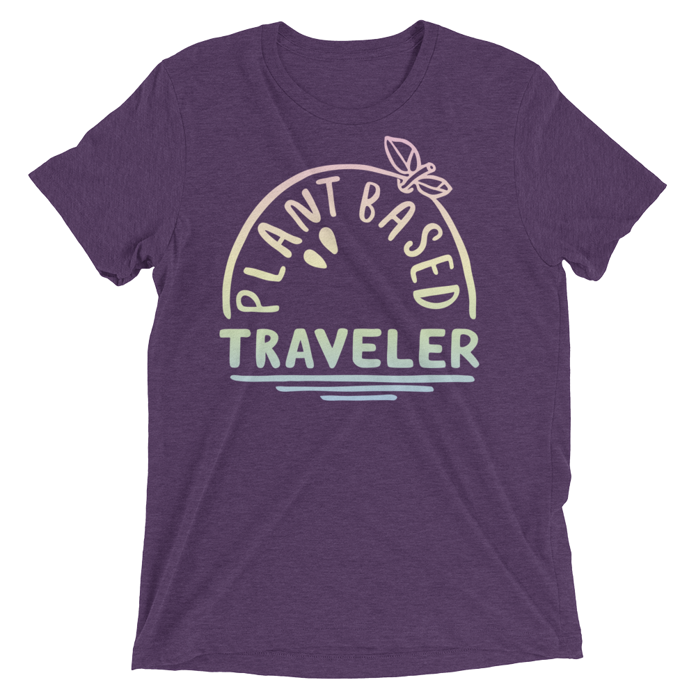 Vegan T-Shirt - Plant Based Traveler shirt - Purple