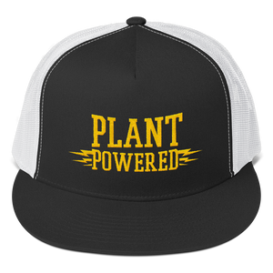 Vegan Trucker Hat - Plant Powered - Black and white