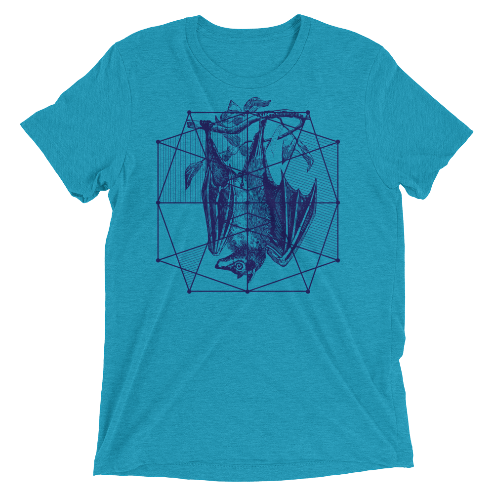 Sacred Geometry Shirt - Polygon Formation Bat - Aqua