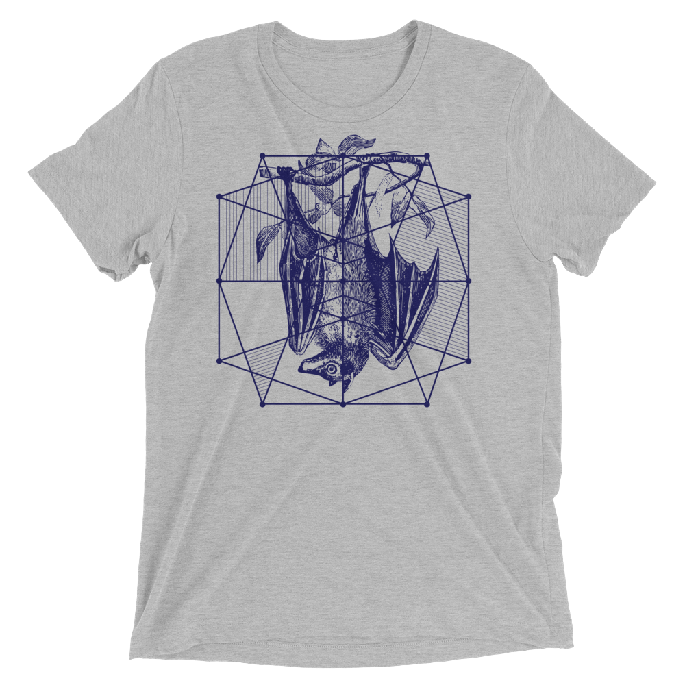 Sacred Geometry Shirt - Polygon Formation Bat - Athletic Grey