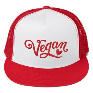 Vegan Trucker Hat - Vegan Heart - Red