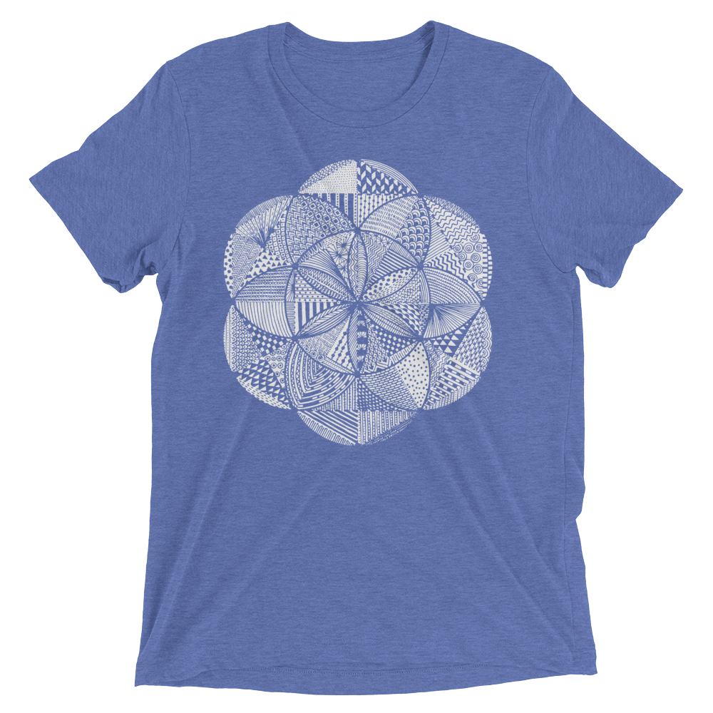 Sacred Geometry Shirt - Seed Of Life Boho - Blue