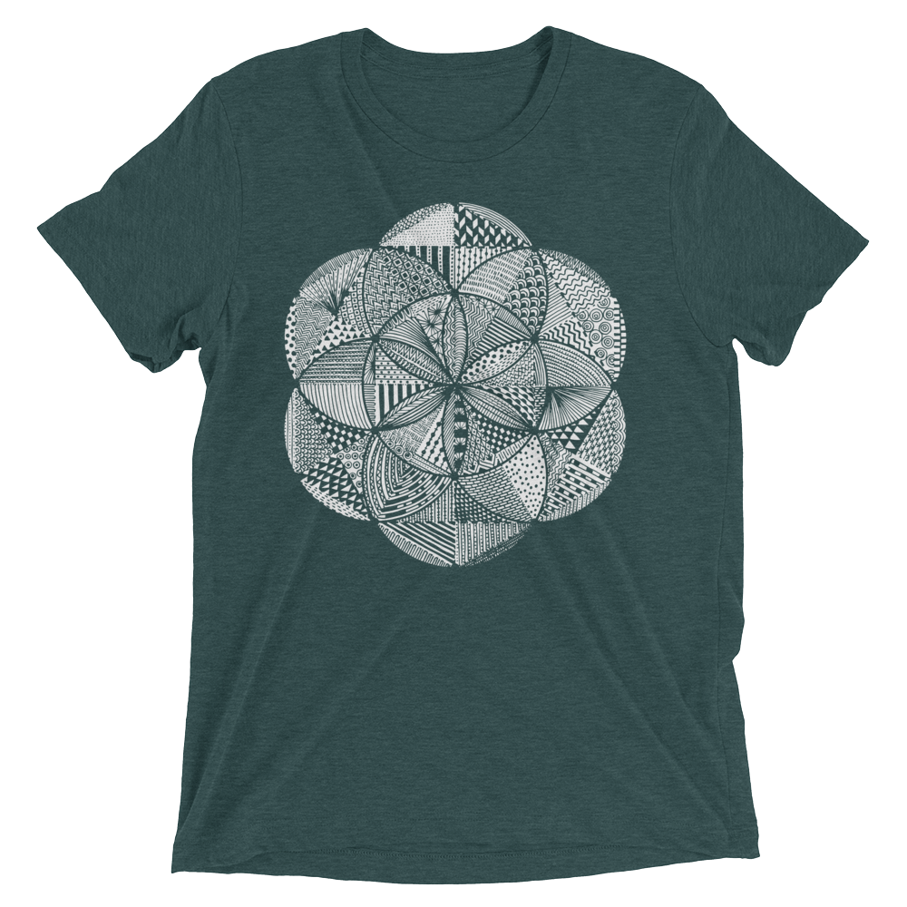 Sacred Geometry Shirt - Seed Of Life Boho - Emerald