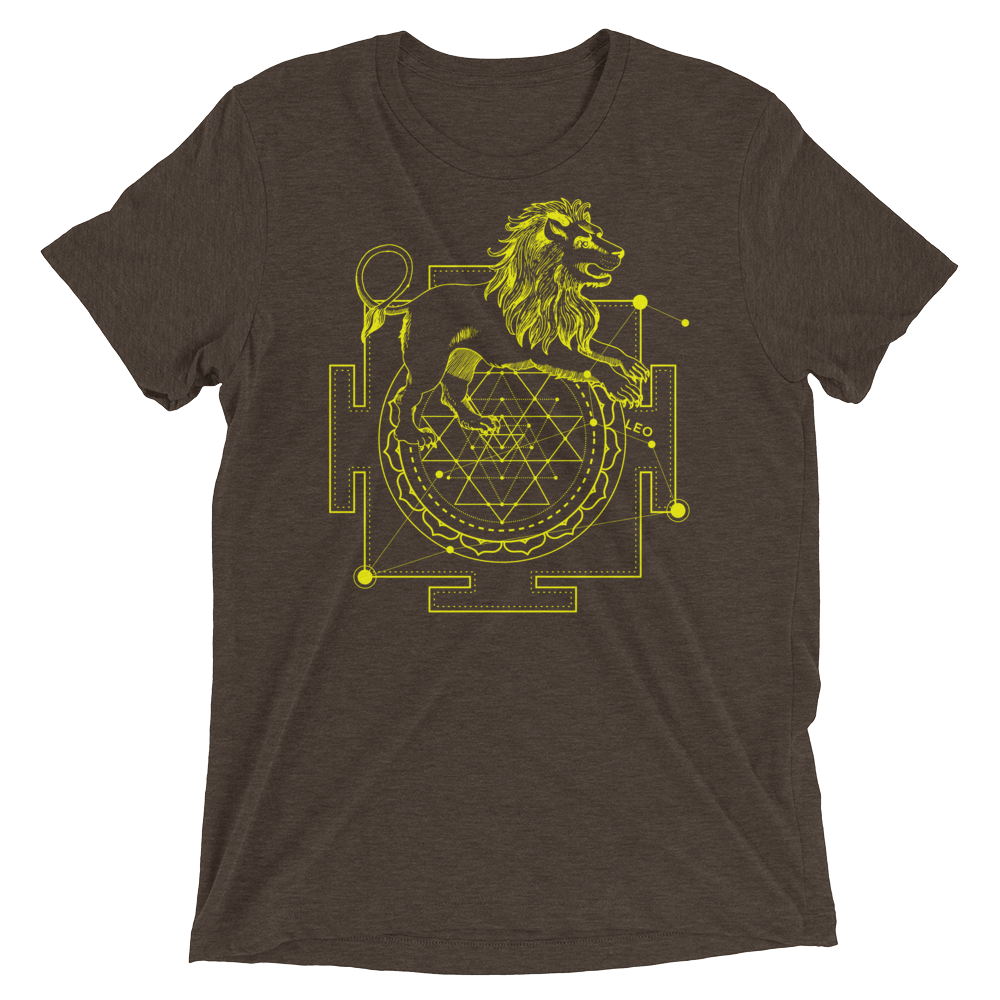 Sacred Geometry Shirt - Sri Yantra Adaptation Lion - Brown