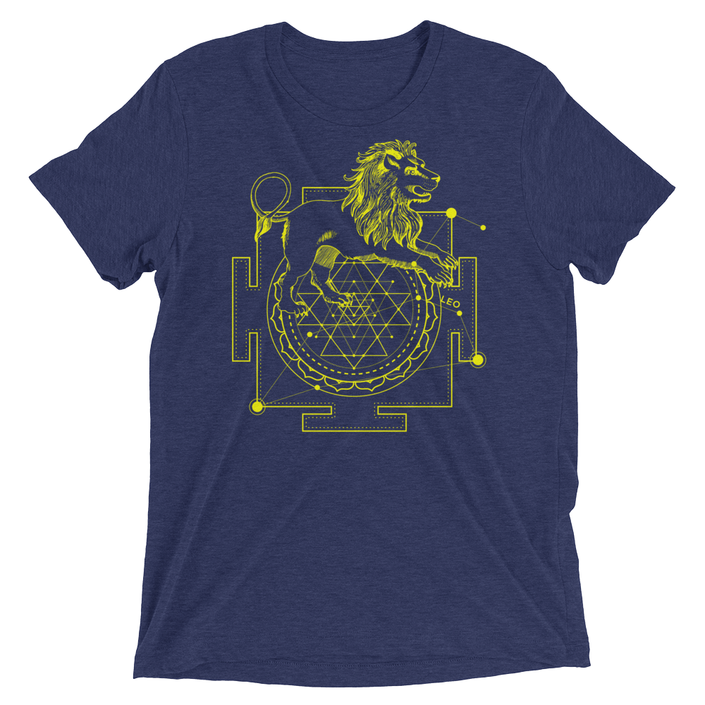 Sacred Geometry Shirt - Sri Yantra Adaptation Lion - Navy