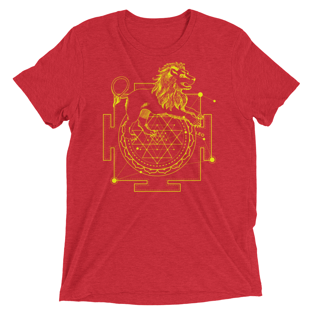 Sacred Geometry Shirt - Sri Yantra Adaptation Lion - Red