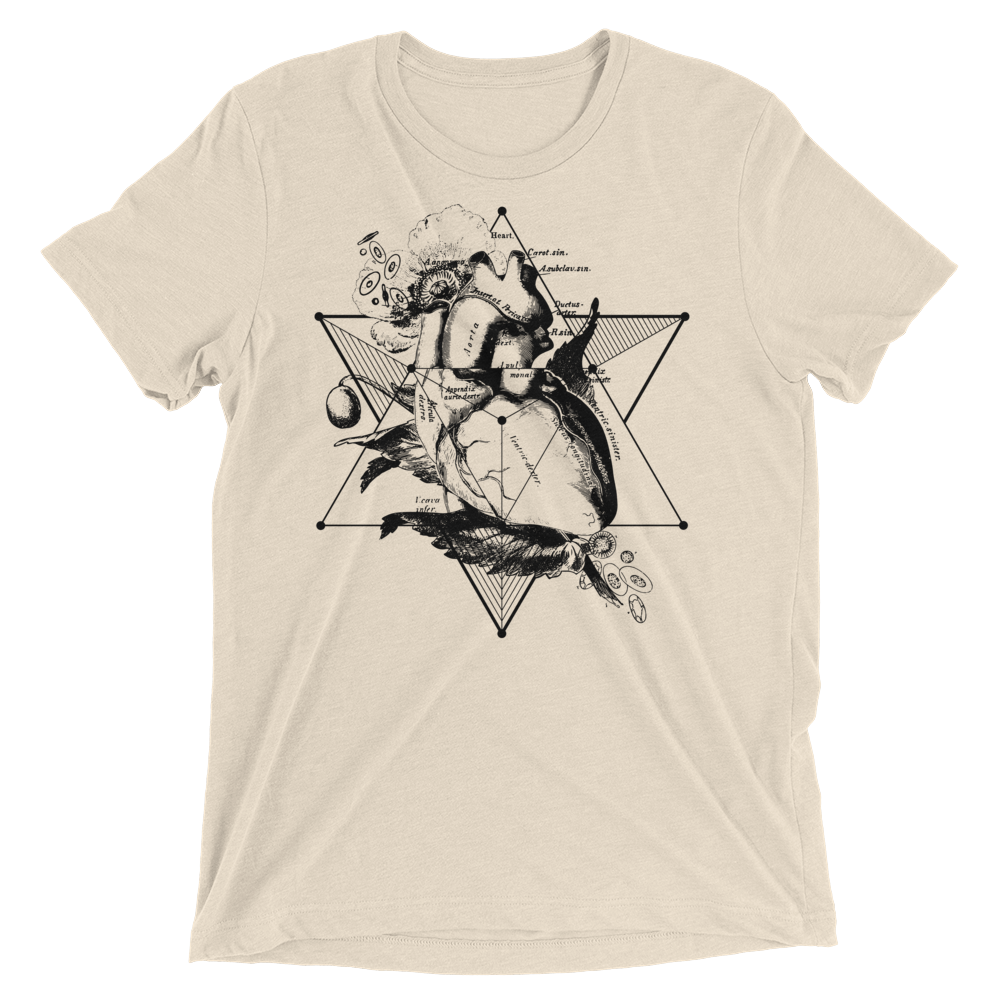 Sacred Geometry Shirt - Star Tetahedron Heart - Oatmeal