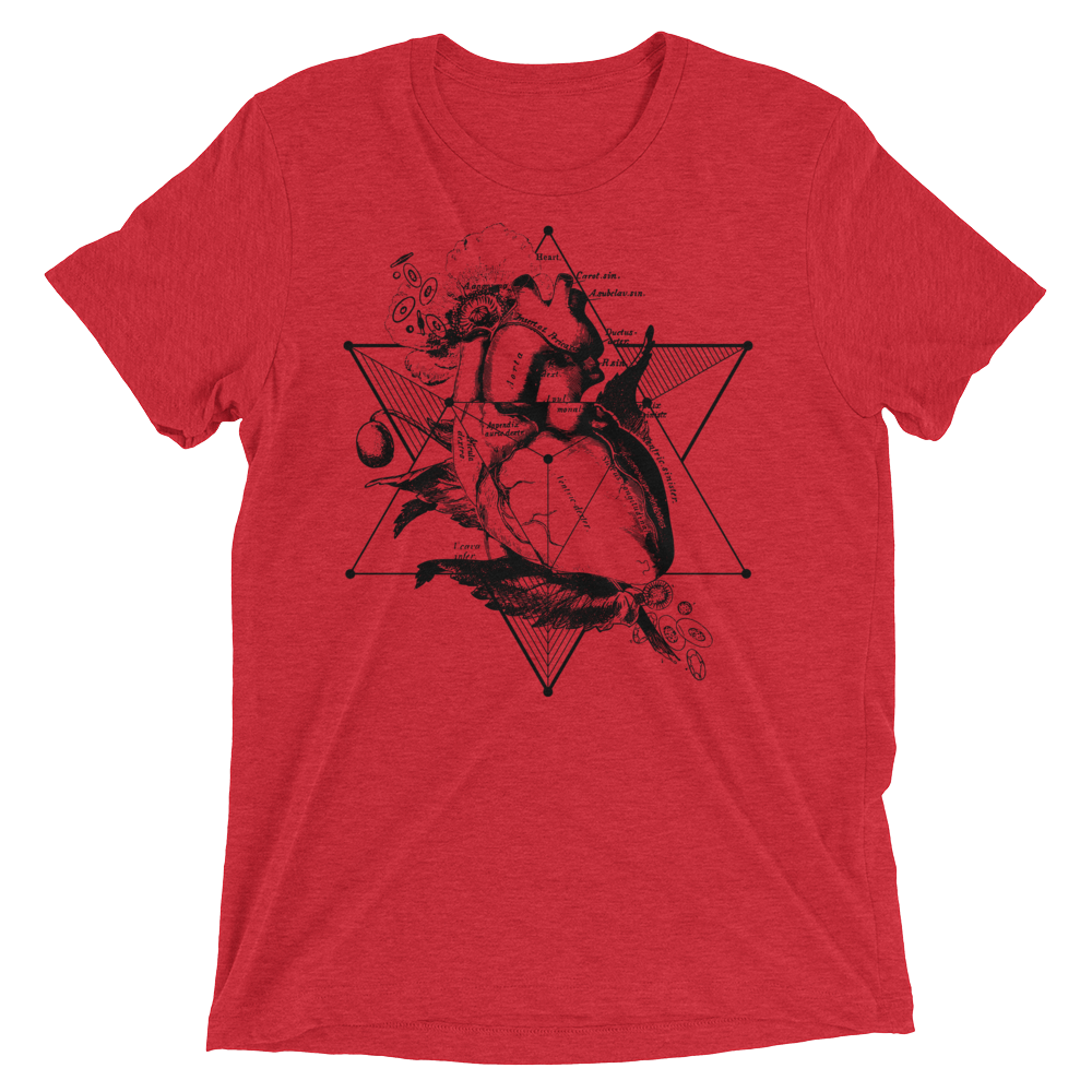 Sacred Geometry Shirt - Star Tetahedron Heart - Red
