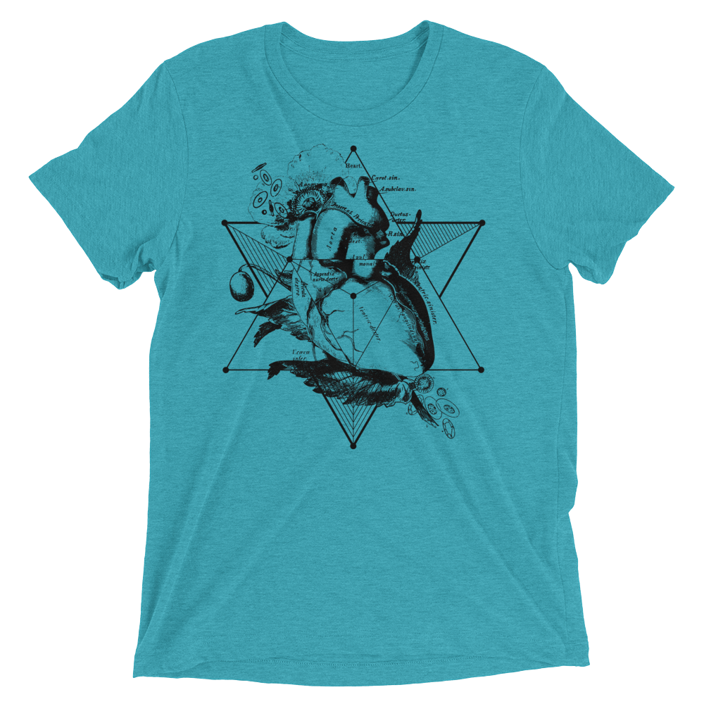 Sacred Geometry Shirt - Star Tetahedron Heart - Teal