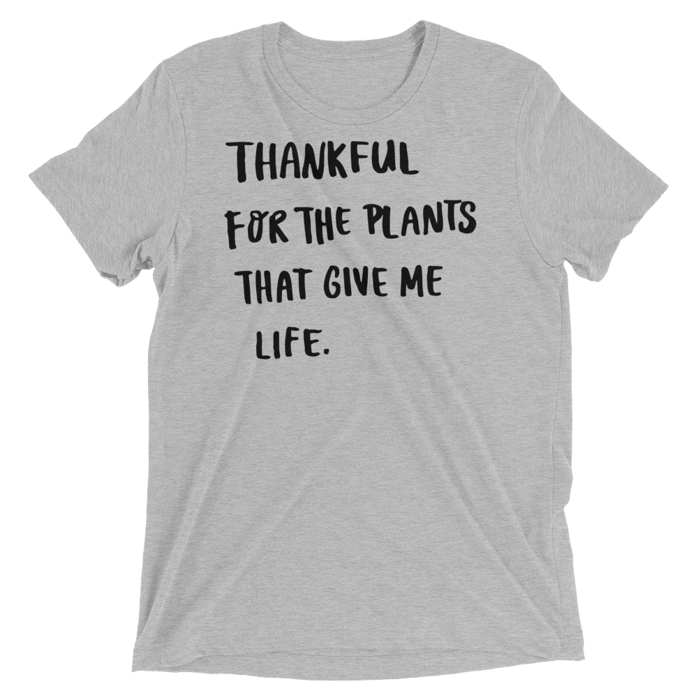 Vegan T-Shirt - Thankful For The Plants - Athletic Grey