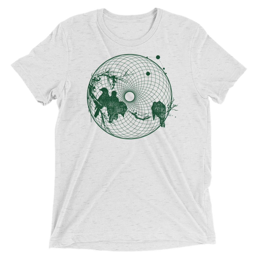 Sacred Geometry Shirt - Torus Birds - White Fleck