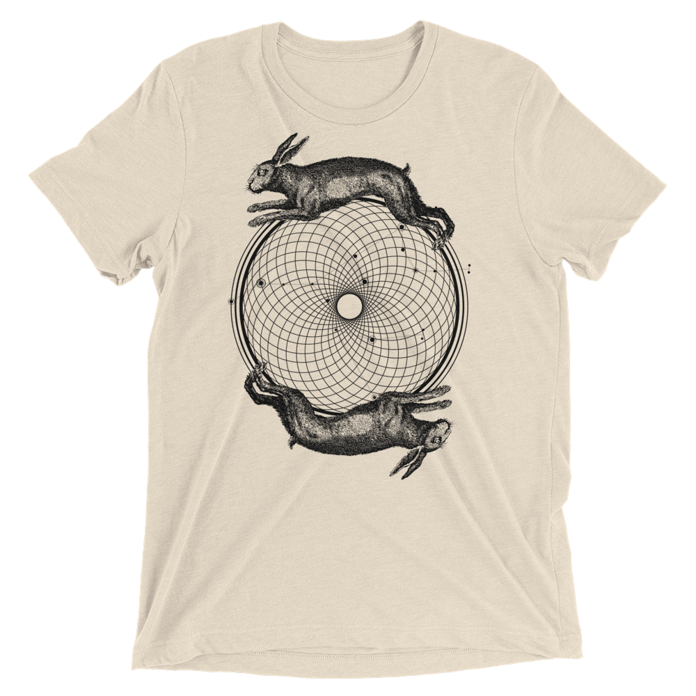 Sacred Geometry Shirt - Torus Rabbits - Oatmeal