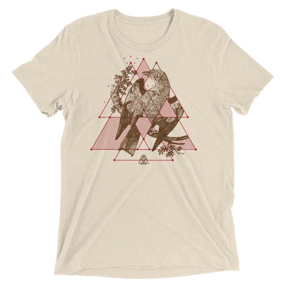 Sacred Geometry Shirt - Triangular Overlays - Oatmeal