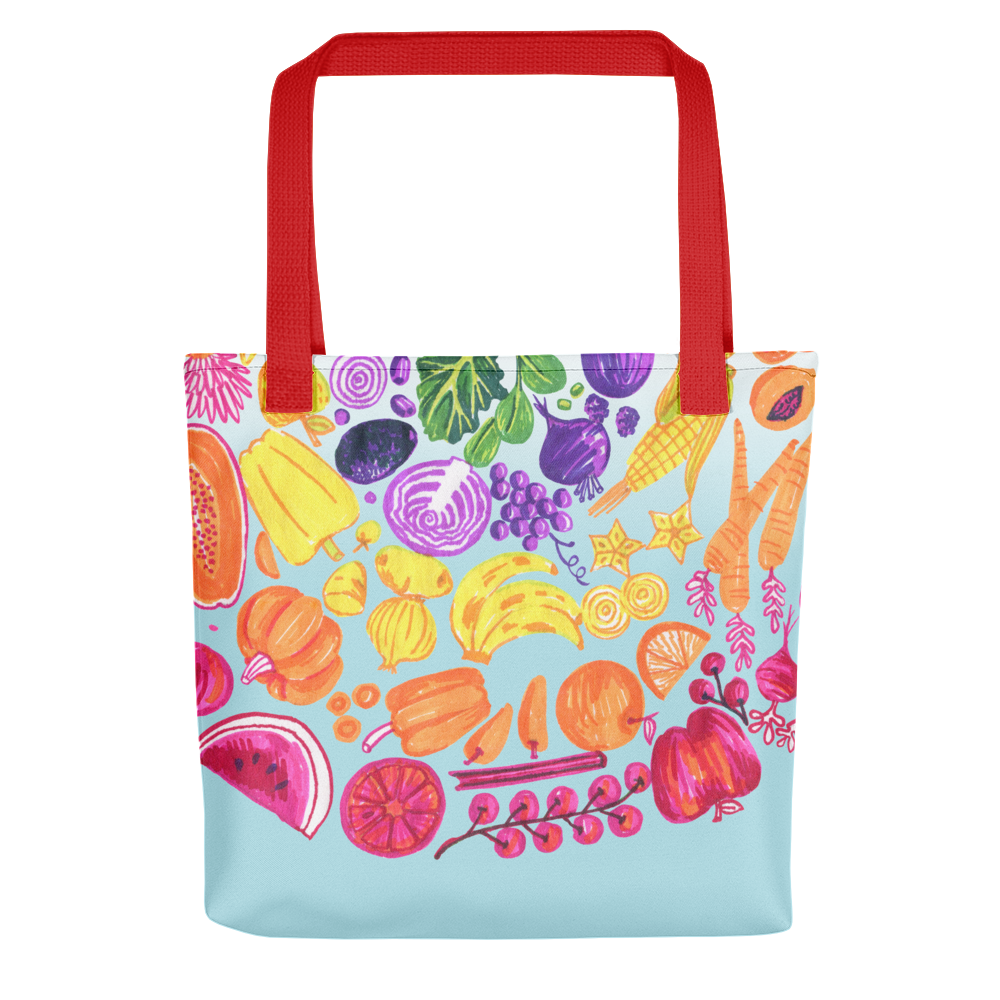 Vegan Bag - Vegan Tote Bag - Eat the Rainbow - back